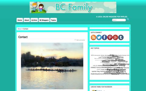 Screenshot of Contact Page bcfamily.ca - Contact | BC Family - captured Oct. 4, 2014