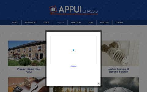 Screenshot of Services Page appui.be - Appui sprl, châssis de fenêtres en pvc, bois et Aluminium - captured Feb. 5, 2016