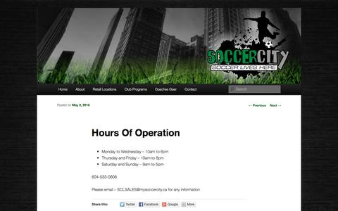 Screenshot of Hours Page mysoccercity.ca - Hours Of Operation - Soccer CitySoccer City - captured Dec. 1, 2016