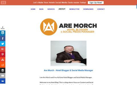 Screenshot of About Page aremorch.com - About   Are Morch - Hotel Blogger - captured Sept. 27, 2016