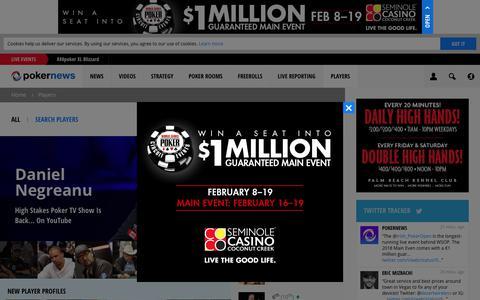 Screenshot of pokernews.com - Biographies, Interviews, Winnings and Global Poker Players Index | PokerNews - captured Jan. 18, 2018