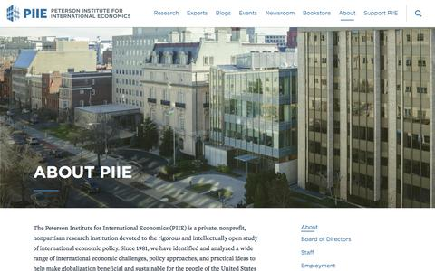 Screenshot of About Page piie.com - About PIIE | PIIE - captured Aug. 22, 2016