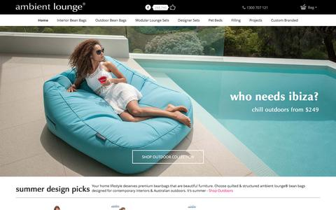 Screenshot of Home Page ambientlounge.com.au - Bean Bags with Structure by Interior Designers | Stunning Bean Bags - captured Jan. 27, 2018
