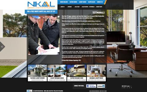 Screenshot of Testimonials Page nikal.com.au - Testimonial | NIKAL - Design and Construction - captured Oct. 26, 2014