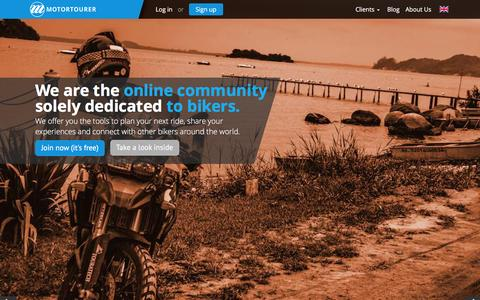 Screenshot of Home Page motortourer.com - Motortourer • Ride – Share – Connect - captured Feb. 24, 2016