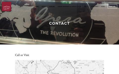 Screenshot of Contact Page coffeetailor.co.uk - Contact — Coffee Tailor - captured Nov. 2, 2014
