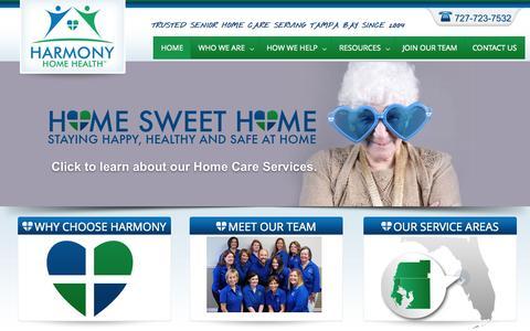 Screenshot of Home Page harmonyhh.com - Senior Home Health Care | Florida Home Health - captured Sept. 20, 2015
