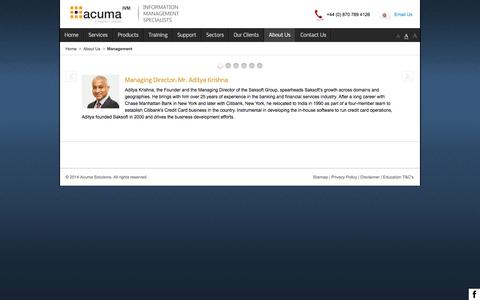 Screenshot of Team Page acuma.co.uk - Management  | Acuma Solutions - captured Oct. 4, 2014