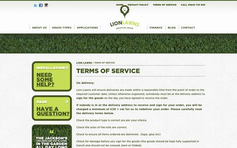 Screenshot of Terms Page lionlawns.co.uk - Lion Lawns Terms & Conditions - captured July 5, 2017