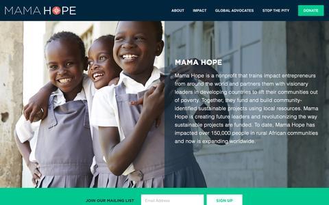 Screenshot of Home Page mamahope.org - Mama Hope - captured Dec. 21, 2015