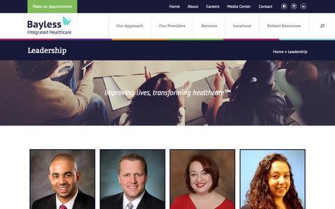 Screenshot of Team Page baylesshealthcare.com - Leadership - Bayless Healthcare - captured Oct. 5, 2018