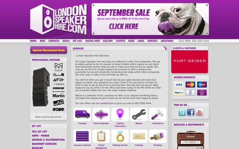 Screenshot of Services Page londonspeakerhire.com - London Speaker Hire & PA Hire London - Services - captured Sept. 30, 2014