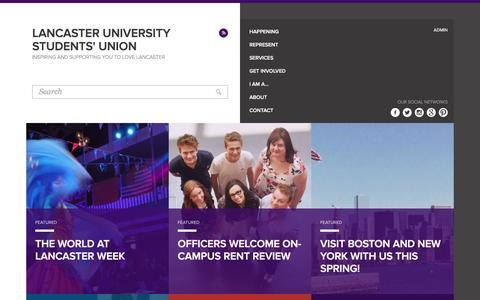 Screenshot of Home Page lusu.co.uk - Lancaster University Students' Union - captured Jan. 25, 2016