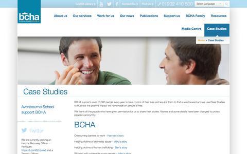 Screenshot of Case Studies Page bcha.org.uk - Case Studies - captured May 31, 2017