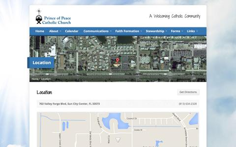 Screenshot of Locations Page popcc.org - Location – Prince of Peace Catholic Church - captured Jan. 31, 2016