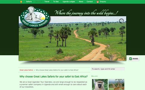 Screenshot of About Page safari-uganda.com - Why choose Great Lakes Safaris for your safari to East Africa? - captured Sept. 25, 2018