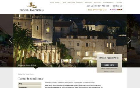 Screenshot of Terms Page suncanihvar.com - Terms & conditions   Suncani Hvar Hotels - captured Sept. 23, 2014