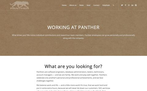 Screenshot of Jobs Page panthersys.com - Panther Systems - software engineer, process engineer and DBA careers - captured Sept. 26, 2018
