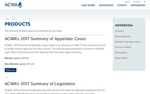 Screenshot of Products Page acwa.com - Products - Association of California Water Agencies - captured Oct. 4, 2018