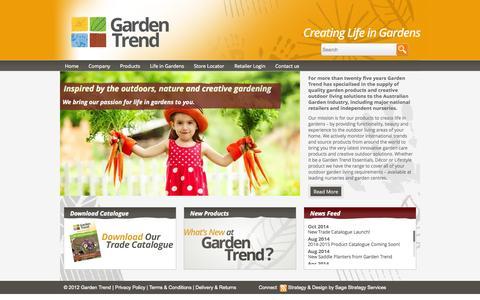 Screenshot of Home Page gardentrend.com.au - Garden Trend   Creating Life in Gardens - captured Jan. 17, 2015