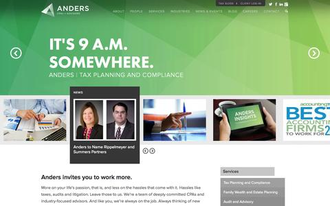 Screenshot of Home Page anderscpa.com - Accounting | Tax | Audit | St. Louis | Anders CPAs + Advisors - captured Oct. 4, 2014