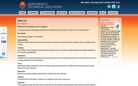 Screenshot of About Page adktechs.com - About Us : Adirondack Technical Solutions - captured Oct. 4, 2014