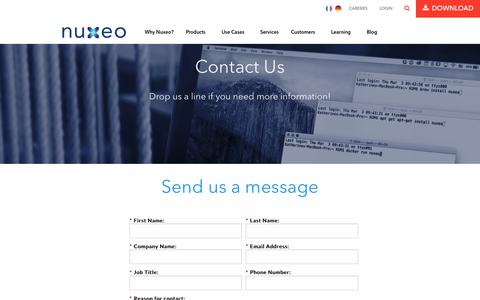 Screenshot of Contact Page nuxeo.com - Contact us   Nuxeo - captured July 3, 2016
