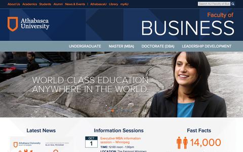 Screenshot of Contact Page athabascau.ca - Contact Us | AU Faculty of Business - captured Sept. 25, 2014