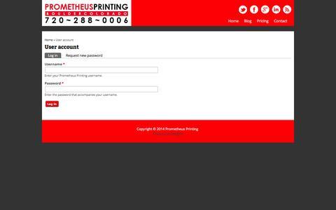 Screenshot of Login Page prometheusprinting.com - User account | Prometheus Printing - captured Oct. 3, 2014