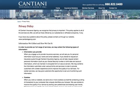 Screenshot of Privacy Page cantianiagency.com - Privacy Policy | Cantiani Insurance Agency of Worcester Massachusetts - captured Oct. 1, 2014