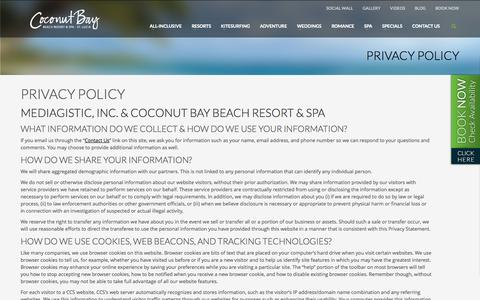 Screenshot of Privacy Page cbayresort.com - Privacy Policy » Coconut Bay Beach Resort & Spa - captured Sept. 24, 2014