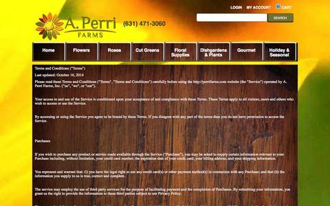 Screenshot of Terms Page perrifarms.com - TermsAndConditions - captured Nov. 2, 2014