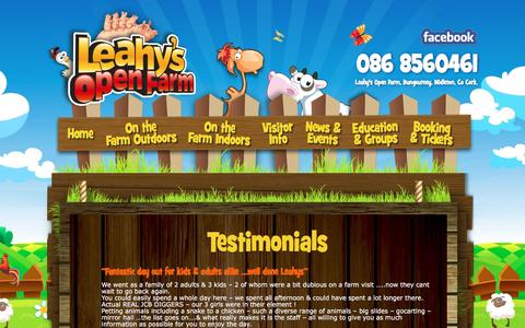 Screenshot of Testimonials Page leahysopenfarm.ie - Welcome to Leahy's Open Farm – Midleton, Co Cork Testimonials - Welcome to Leahy's Open Farm - Midleton, Co Cork - captured Jan. 12, 2017