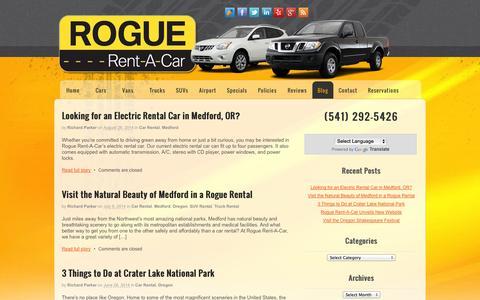 Screenshot of Blog roguerentacar.com - Rogue Rent-A-Car | Blog | Car Rentals Medford Oregon - captured Sept. 30, 2014
