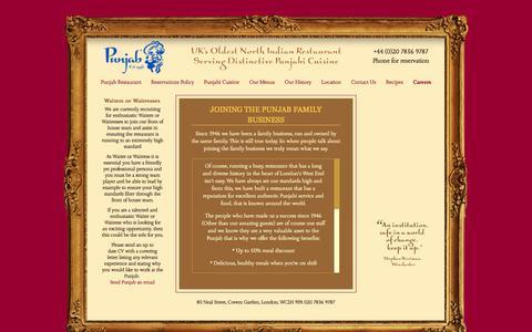 Screenshot of Jobs Page punjab.co.uk - Reservations Policy - UK's Oldest North Indian Restaurant Serving Distinctive Punjabi Cuisine - Punjab - captured March 10, 2018
