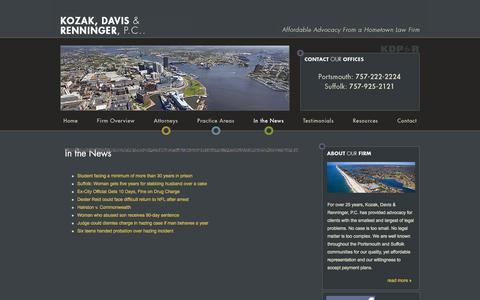 Screenshot of Press Page kozakfirm.com - In the News | Kozak, Davis & Renninger, P.C. | Portsmouth Virginia - captured Oct. 1, 2014