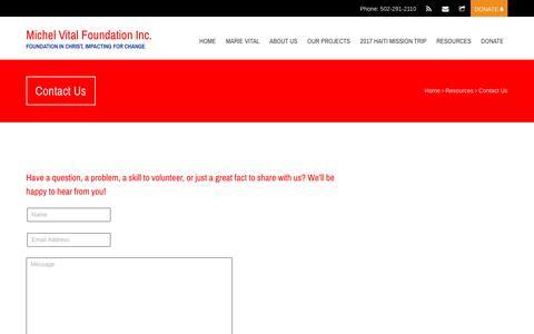 Screenshot of Contact Page vitalfoundation.org - Contact Us - captured Nov. 28, 2016