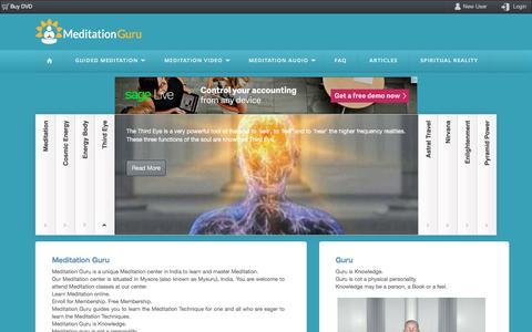 Screenshot of Home Page meditationguru.com - Meditation Guru - Guided Meditation Techniques - captured June 13, 2016