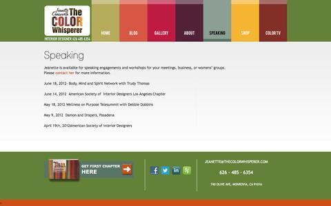 Screenshot of Press Page thecolorwhisperer.com - Speaking | Interior Designer in Monrovia The Color Whisperer - captured Oct. 2, 2014