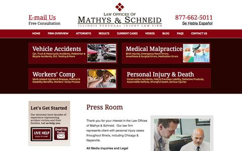 Screenshot of Press Page mathyslaw.com - Press Room | Law Firm Media Inquiries | Local Reporter Legal Informational Interviews | Chicago, Naperville, Illinois - captured Oct. 2, 2014