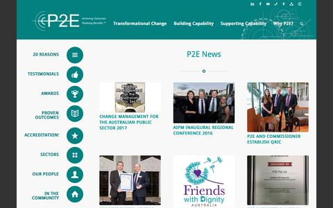 Screenshot of Press Page p2e.com.au - P2E |   News & Events - captured Nov. 7, 2016
