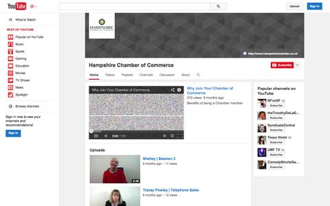 Screenshot of YouTube Page youtube.com - Hampshire Chamber of Commerce  - YouTube - captured Oct. 22, 2014