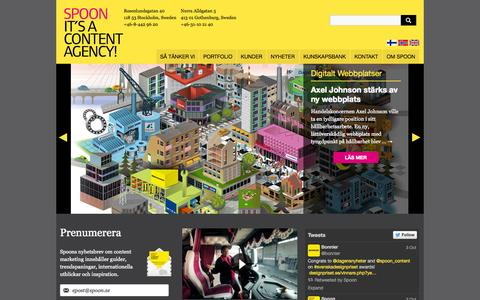Screenshot of Home Page spoon.se - Spoon | It's a Content Agency! - captured Oct. 7, 2014