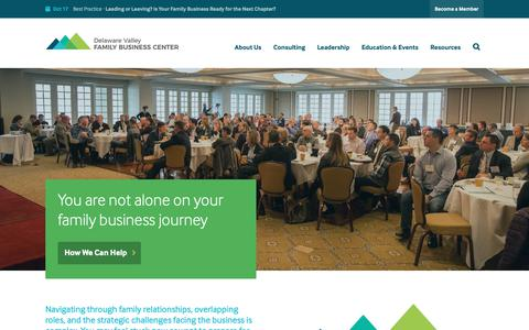 Screenshot of Home Page dvfbc.com - Delaware Valley Family Business Center – Guiding business families through the multi-generational journey - captured Oct. 8, 2018