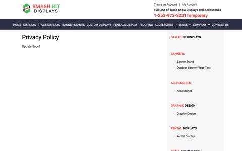 Screenshot of Privacy Page smashhitdisplays.com - Privacy Policy | Contact Us - captured Sept. 21, 2018