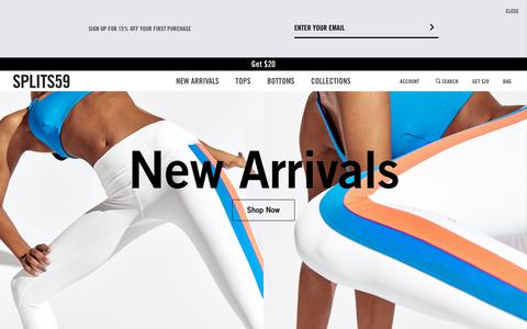 Screenshot of Home Page splits59.com - Workout Apparel & Yoga Clothing for Women | SPLITS59 - captured May 15, 2019