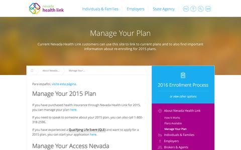 Screenshot of Login Page nevadahealthlink.com - Manage Your Plan |  Nevada Health Link - captured Jan. 15, 2016