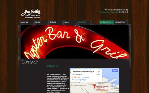 Screenshot of Contact Page joefortes.ca - Seafood Restaurants Vancouver - Joe Fortes Contact US - captured Oct. 6, 2014