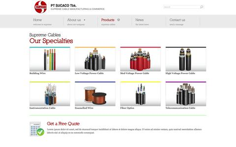 Screenshot of Products Page sucaco.com - PT SUCACO Tbk | Supreme Cable Manufacturing & Commerce - captured Oct. 1, 2014