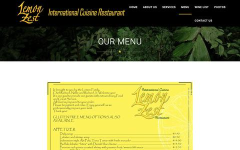 Screenshot of Menu Page lemonzestjaco.com - Lemon Zest - captured Nov. 21, 2018
